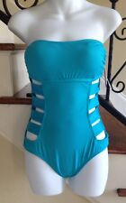 NWT Kenneth Cole Cut Out One Piece Swimsuit sz Small Lagoon $102