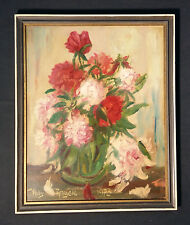 Naturaleza Muerta Cuadro De Flores ¿rosas? Texto Original En Pintura Al Óleo