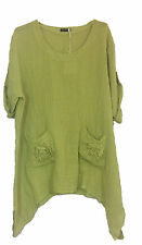 New Ladies Italian Style Pockets Tunic Quirky Lagenlook Linen Top Flower Pocket