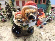 Vintage UCAGCO Christmas Planter Boxer Puppies in Santas Boot 1950s Japan Vase