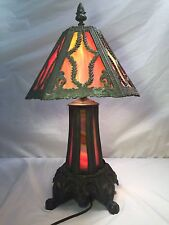 Vintage Red Amber Stained Slag Glass Table Lamp EF & EF Industries Lighted Base