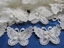 """2y Butterfly 3"""" Pearl  Lace Edge Trim Pearl Wedding Applique DIY Sewing Crafts"""