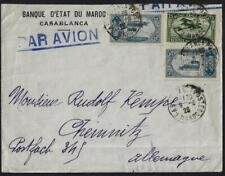 MOROCCO 1925 BANK OF MAROC AIR MAIL COVER CASABLANCA TO CHEMNITZ GERMANY