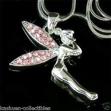 w Swarovski Crystal Pink Tinkerbell fairy ANGEL Charm Necklace Girls Jewelry New