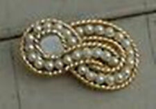 Nice Gold Tone Imitation Pearl Lapel Pin, Very Good Cond