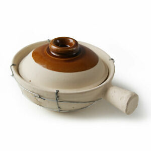 CHINESE SINGLE HANDLE WIRED EARTHEN POT & LID - CHINESE CLAY POT - 16CM