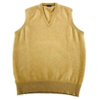 Brooks Brothers Made In England 100% Cashmere Tan Mens Sweater Vest size 46