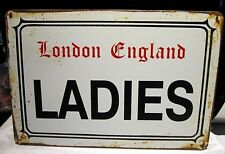 LADIES/ LONDON ENGLAND- SMALL  VINTAGE-STYLE  METAL WALL SIGN 30X20 cm