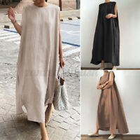 Womens Summer Sleeveless Casual Loose Split Hem Kaftan Long Maxi Dress Plus Size