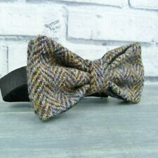 Handmade Harris Tweed and Silk Bow Tie - Multi Autumnal Herringbone