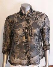 Mirasol Blouse Top M Black Metallic Rayon  Polyester Button Down 3/4 Sleeves