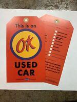 OK  Used Car  Warranty  Tag  1957 Chevy Corvette Camero, Chevelle GTO