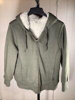 Women's XL Old Navy Olive Green Full Zip hoodie sweat jacket Faux Sherpa Fur
