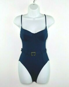 We Wore What $125 Underwire Padded Belted One Piece Navy Blue Swimsuit Size S
