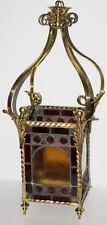 Antique Victorian Large Stained Glass Lantern / Hall Light [PL923]