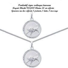 Bijoux Pendentif argent horoscope taureaux 15 mm