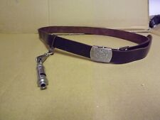 More details for girl guides association: brownie brown leather belt and whistle  283 f