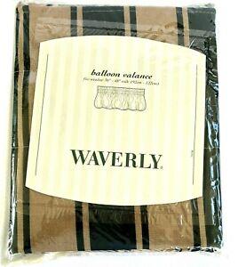 Lot Of 2 Waverly Appleton-Grass Balloon Valance Hunter Green/Taupe Stripe