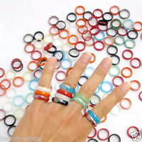 1Pc Fashion Unisex Charming Jade Natural Agate Gemstone Jewelry Band Ring Gift