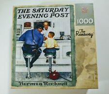 """Master Pieces 1000 pc Jigsaw Puzzle Norman Rockwell """"The Runaway""""  26"""" x 19"""" New"""