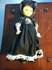 Vintage Baby Doll with Pretend Cameo Pin- Navy