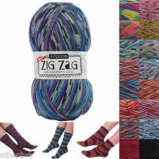 King Cole Zig Zag 4 Ply Sock Knitting Yarn - 100g 75% Superwash Wool