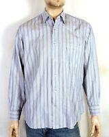 euc Robert Talbott Carmel Fine Blue Striped Dress Shirt Button Down sz L