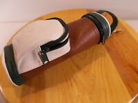 Golf Bag Drink Holder Insulated Bottle Can Clip Pocket Handle Green White Brown