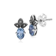 Gemondo Sterling Silver Blue Topaz & Marcasite November Stud Earrings