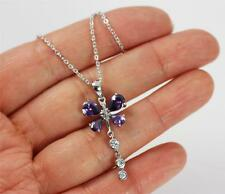 "Solid 925 Sterling Silver, Purple Amethyst Butterfly Pendant Necklace 18"" + box"