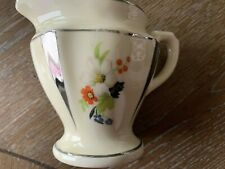 New listing Small Ceramic Creamer Pitcher Vintage Painted Silver Edging and Floral Design