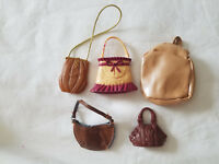 LOT OF BARBIE DOLL PURSES/BAGS  (BROWN)