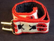 "Women'S Fabric Belt Hand made Lady Bug Design 2"" x 35"" Gold Tone Metal Buckle"