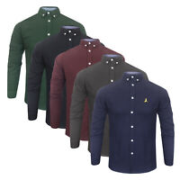 Mens Brave Soul Premium Range 100% Brushed Cotton Block Colour Long Sleeve Shirt