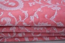 5 Yard Hand Made Block Print Fabric Indian Cotton Craft Fabric Pink colored