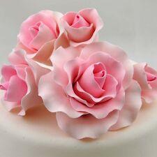 5 Pink Roses Sugar flower wedding birthday cake decoration topper craft