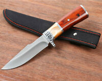 Fixed Blade Hunting Knife Outdoor Survival Bowie Camping + Sheath Wood Handle
