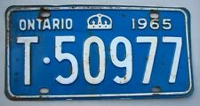 """1965 ONTARIO  AUTO PASSENGER LICENSE PLATE  """" T 50977 """" ON 65 CANADA CROWN"""