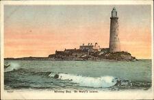 Whitley Bay UK St. Mary's Island Lighthouse c1910 Postcard