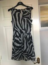 Pink Boutique Zebra Print Dress Size 8 Black White