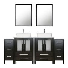 Bathroom Vanity W/ Side Table 72 inch Ceramic Vessel Sink Faucet Mirror Combo