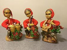 Vintage Set/ 3 Plastic TISLO Red Christmas Elves Pixies Musical Instruments