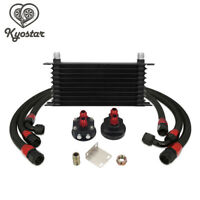 10 Row AN10 Universal Engine Transmission Oil Cooler Kit+ Filter Relocation Kit
