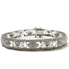 "Diamond Accent Rhodium Plated Sterling Silver Tennis Bracelet 7.5 "" QVC 14.5 g"