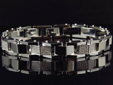 Mens Genuine Diamond 316 Stainless Steel 12 MM Bracelet BR9C Arctica 9 Inch 2 Ct