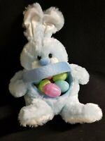 Blue & White Plush Stuffed Easter Bunny Rabbit  Basket 12 Fillable Easter Eggs