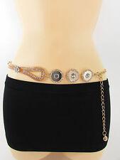 Women Hip Waist Gold Mesh Metal Chain Fashion Belt Silver Circle Flower S M L XL