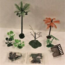 Lot of Marx Miniature Jungle Play Set Parts -Trees--2 Sealed JEEPS-Plants
