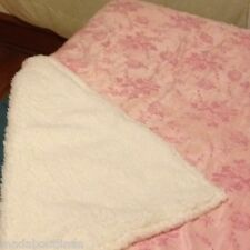 Shabby Chic French Provincial Rose Sherpa Blanket Throw Rug Pink Ivory BNIP LAST