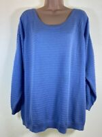 MARKS & SPENCER bluebell blue crochet insert jumper PLUS SIZE 22 euro 50